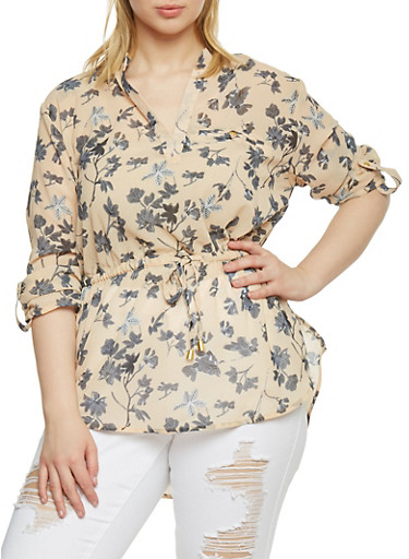 Plus Size Floral Print Chiffon Top with Cinched Tie Waist,GRAY,large