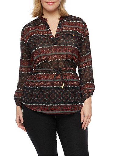 Plus Size Mandarin Collar Top with Aztec Print,BLACK/BURGUNDY,large