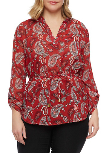 Plus Size Paisley Print Top,BURGUNDY,large