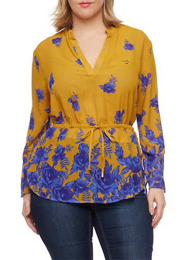 Plus Size Floral Top with Drawstring Waist,MUSTARD/ROYAL,large