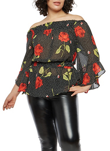 Plus Size Off the Shoulder Rose Polka Dot Top,BLACK/RED,large