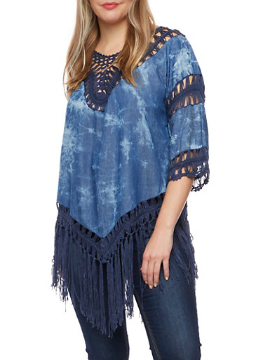 Plus Size Chambray Top with Crochet Panels,NAVY,large