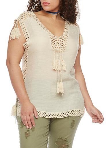 Plus Size Crochet and Tassel Trim Sleeveless Blouse,NATURAL,large
