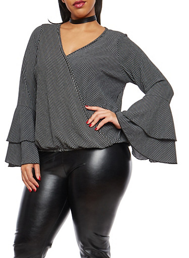 Plus Size Striped Faux Wrap Top,BLACK,large