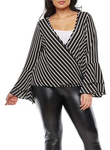 Plus Size Tiered Sleeve Faux Wrap Striped Top,BLACK,large
