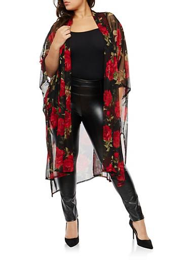 Plus Size Rose Print Mesh Kimono,BLACK/RED  12439,large