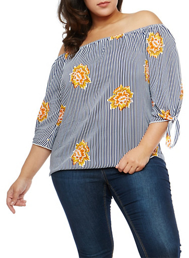 Plus Size Floral Stripe Off the Shoulder Top,GOLD,large