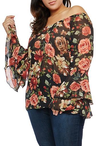 Plus Size Sheer Floral Off the Shoulder Top,BLK/MAUVE MID TIPTF510,large