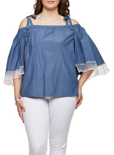 Plus Size Chambray Off the Shoulder Overlay Top,BABY BLUE,large