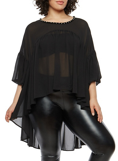 Plus Size Beaded High Low Balloon Sleeve Top,BLACK,large