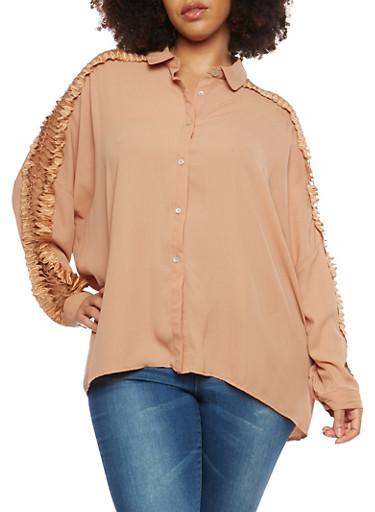 Plus Size Crochet Sleeve Button Front Top,BLUSH,large