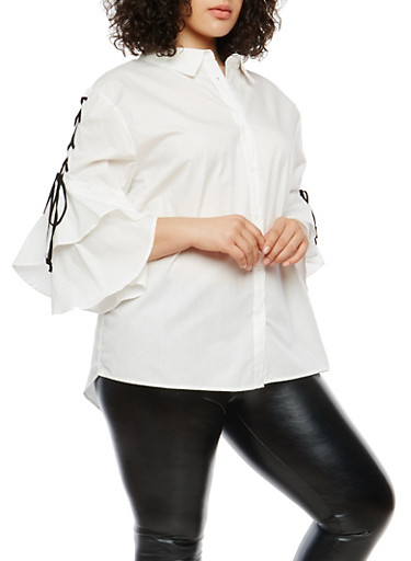Plus Size Lace Up Sleeve Button Front Top,WHITE,large