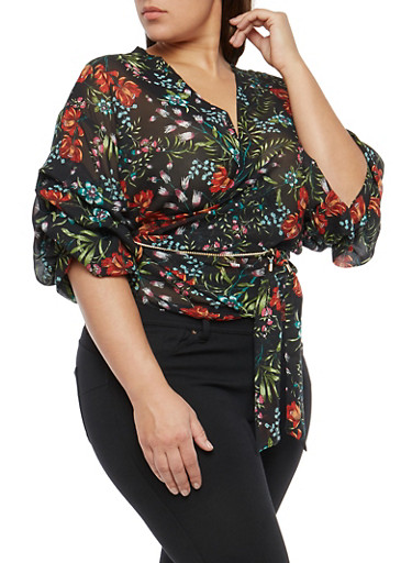 Plus Size Floral Chiffon Tiered Sleeve Wrap Top,BLACK,large