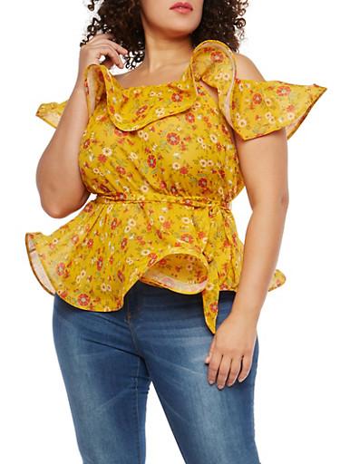 Plus Size Floral Off the Shoulder Top,GOLD,large