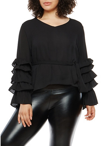 Plus Size Tiered Sleeve Tie Waist Top,BLACK,large