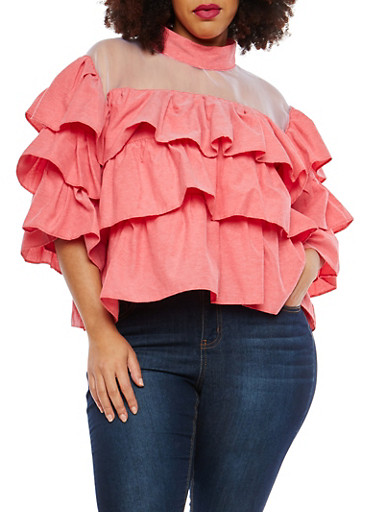 Plus Size Tiered Top,RED,large