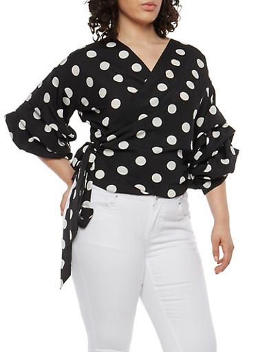 Plus Size Polka Dot Wrap Top,BLACK,large