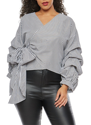 Plus Size Wrap Front Balloon Sleeve Top,BLACK,large