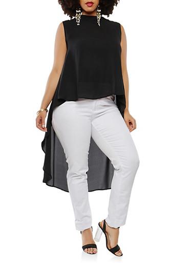 Plus Size Sheer High Low Top,BLACK,large