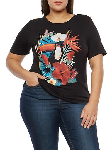 Plus Size Toucan Graphic T Shirt,BLACK,large