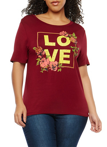 Plus Size Love Graphic T Shirt,BURGUNDY,large
