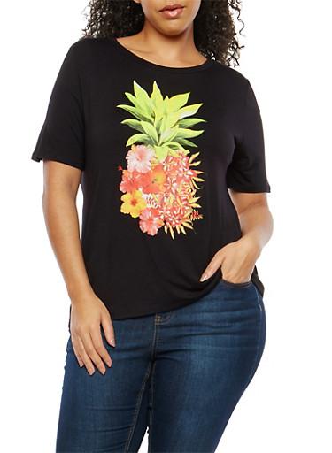 Plus Size Floral Pineapple Graphic T Shirt,BLACK,large