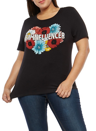 Plus Size New Influencer Graphic T Shirt,BLACK,large