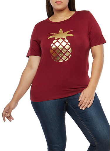 Plus Size Foil Pineapple T Shirt,BURGUNDY,large