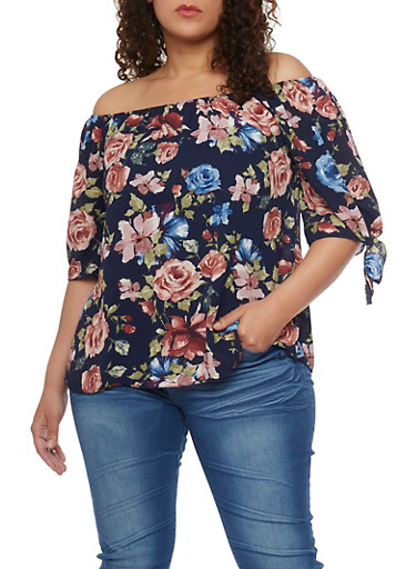 Plus Size Floral Off the Shoulder Top with Tie Sleeves,NAVY/MAUVE,large
