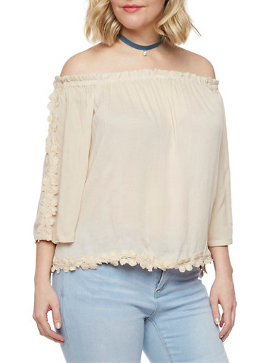 Plus Size Off the Shoulder Top with Abstract Crochet Trim,MICA,large