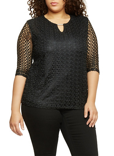 Plus Size 3/4 Sleeve Keyhole Lace Top,BLACK,large