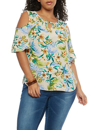 Plus Size Floral Crepe Knit Cold Shoulder Top,NATURAL,large