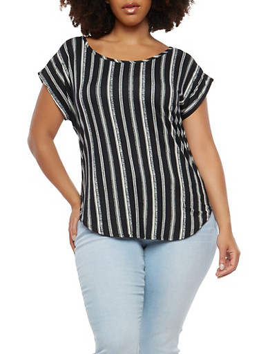 Plus Size Striped Soft Knit T Shirt,BLACK,large