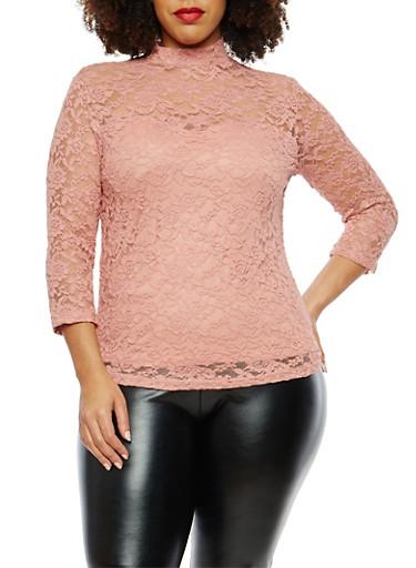 Plus Size Mock Neck Lace Top,MAUVE,large