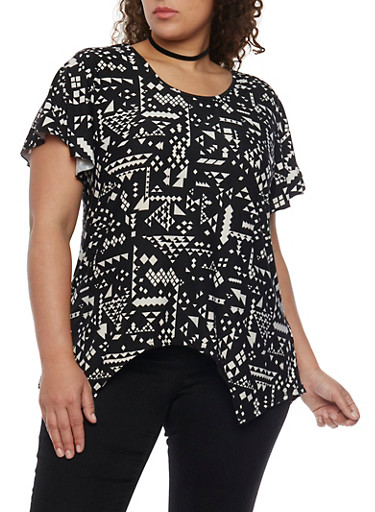 Plus Size Aztec Print Shirt with Sharkbite Hem,BLACK,large