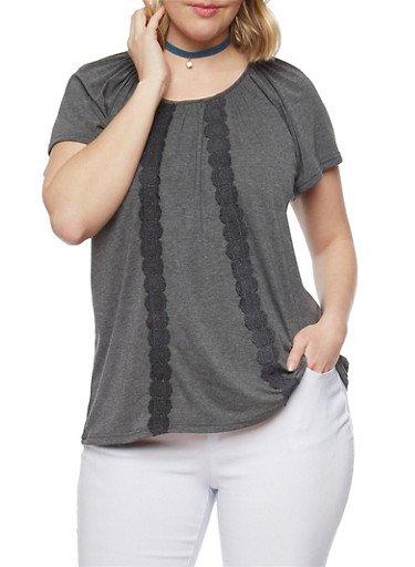Plus Size Short Sleeve Top with Crochet Accent,GRAY,large