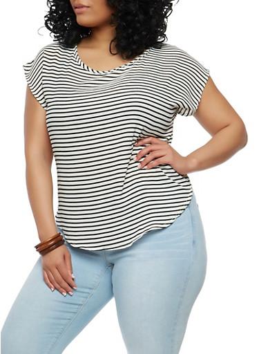 Plus Size Striped Top,BLACK/IVORY,large