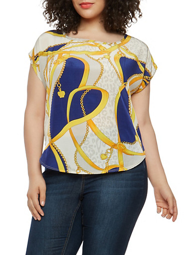 Plus Size Printed Top,NAVY,large