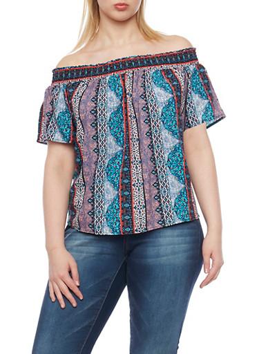 Plus Size Off the Shoulder Aztec Print Peasant Top,JADE,large