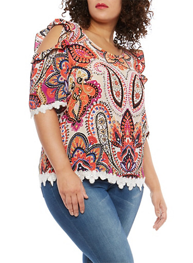 Plus Size Printed Cold Shoulder Top with Crochet Detail,CORAL/MAGENTA,large