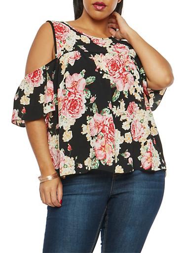 Plus Size Floral Print Cold Shoulder Top,BLACK,large
