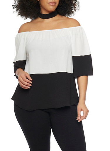 Plus Size Off the Shoulder Color Block Top with Removable Choker Collar,IVORY/BLACK,large