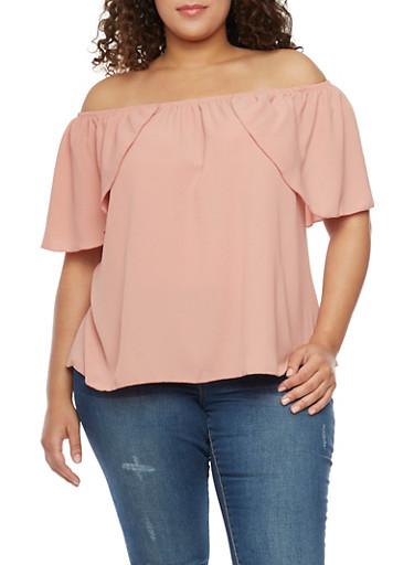 Plus Size Off the Shoulder Flutter Sleeve Top,DK ROSE,large