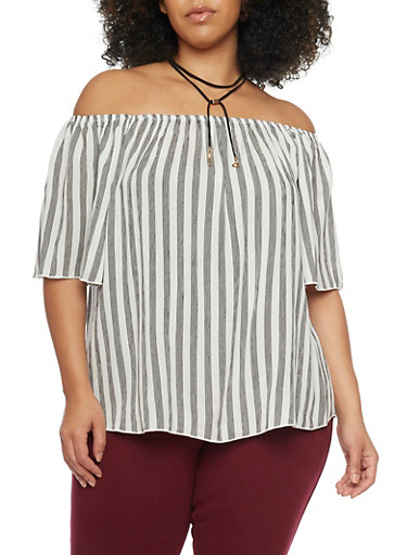 Plus Size Off the Shoulder Striped Top with Choker Tie Necklace,BLACK,large