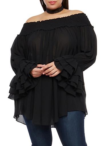 Plus Size Off the Shoulder Tier Sleeve Top,BLACK,large