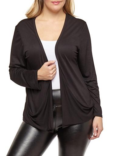 Plus Size Open Front Cardigan,BLACK,large