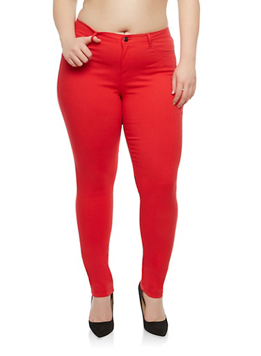 Plus Size Colored Jeggings,RED,large
