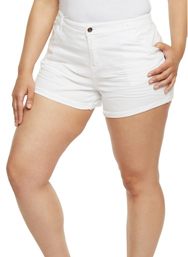 Plus Size Stretch Twill Shorts,WHITE,large