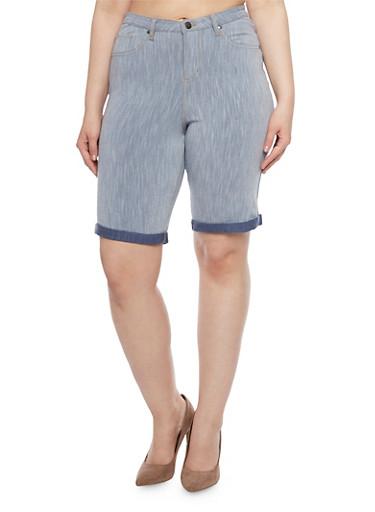 Plus Size Denim High Waisted Bremuda Shorts,LIGHT WASH,large