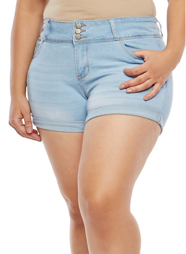 Plus Size WAX High Waisted Jean Shorts,LIGHT WASH,large